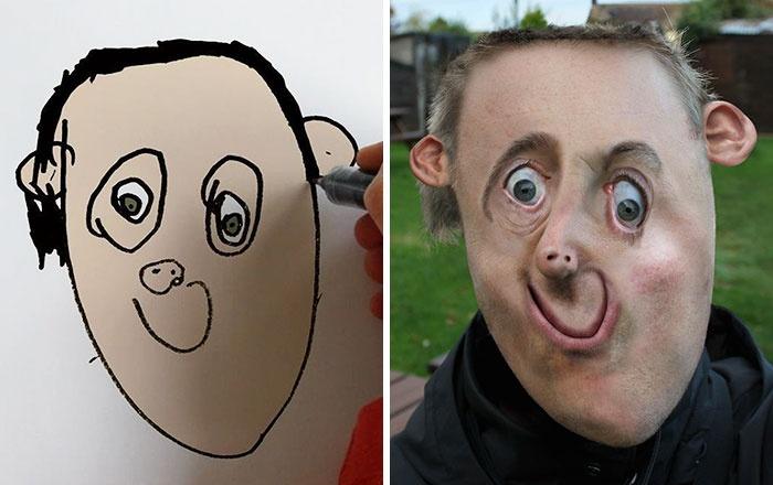 Kisfia rajzaiból készített realisztikus képeket - az eredmény egyszerre mókás és félelmetes